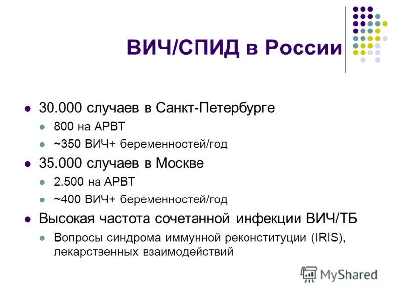 ВИЧ/СПИД в России 30.000 случаев в Санкт-Петербурге 800 на АРВТ ~350 ВИЧ+ беременностей/год 35.000 случаев в Москве 2.500 на АРВТ ~400 ВИЧ+ беременностей/год Высокая частота сочетанной инфекции ВИЧ/TБ Вопросы синдрома иммунной реконституции (IRIS), л