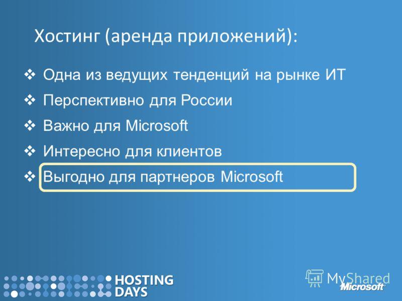 Хостинг (аренда приложений): Одна из ведущих тенденций на рынке ИТ Перспективно для России Важно для Microsoft Интересно для клиентов Выгодно для партнеров Microsoft