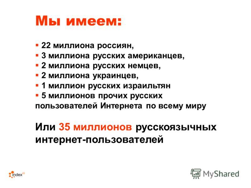 Мы имеем: 22 миллиона россиян, 3 миллиона русских американцев, 2 миллиона русских немцев, 2 миллиона украинцев, 1 миллион русских израильтян 5 миллионов прочих русских пользователей Интернета по всему миру Или 35 миллионов русскоязычных интернет-поль