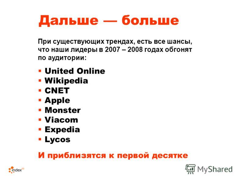 Дальше больше United Online Wikipedia CNET Apple Monster Viacom Expedia Lycos При существующих трендах, есть все шансы, что наши лидеры в 2007 – 2008 годах обгонят по аудитории: И приблизятся к первой десятке