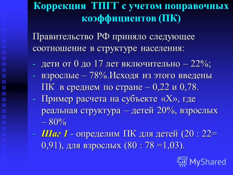 Коррекция ТПГГ с учетом поправочных коэффициентов (ПК) Правительство РФ приняло следующее соотношение в структуре населения: -дети от 0 до 17 лет включительно – 22%; -взрослые – 78%.Исходя из этого введены ПК в среднем по стране – 0,22 и 0,78. -Приме