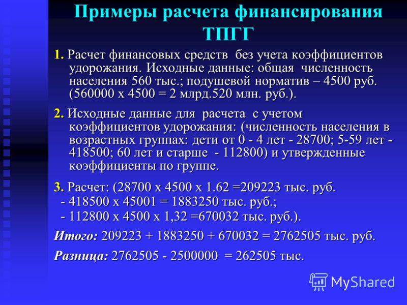 Примеры расчета финансирования ТПГГ 1. Расчет финансовых средств без учета коэффициентов удорожания. Исходные данные: общая численность населения 560 тыс.; подушевой норматив – 4500 руб. (560000 х 4500 = 2 млрд.520 млн. руб.). 2. Исходные данные для