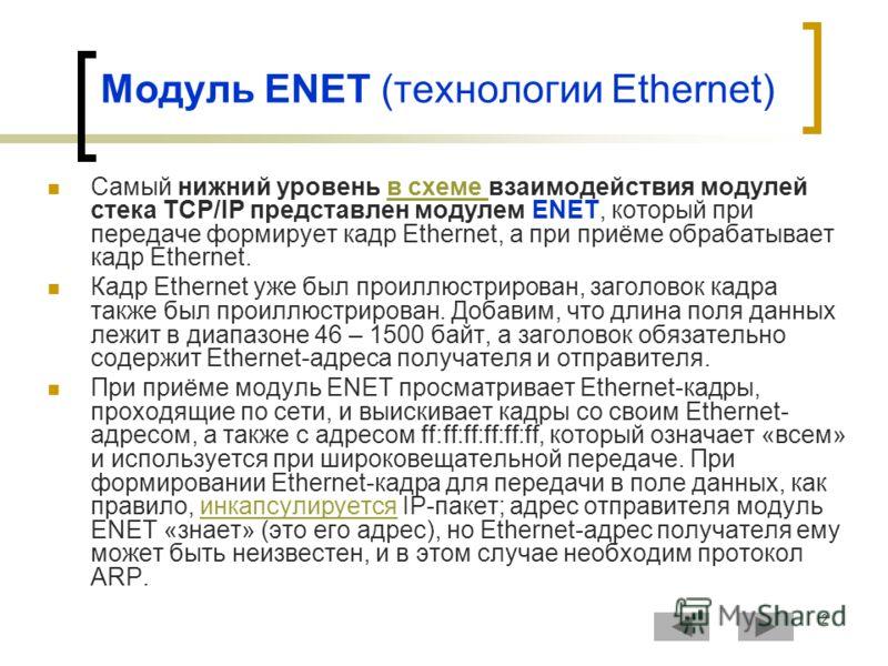 2 Модуль ENET (технологии Ethernet) Самый нижний уровень в схеме взаимодействия модулей стека TCP/IP представлен модулем ENET, который при передаче формирует кадр Ethernet, а при приёме обрабатывает кадр Ethernet.в схеме Кадр Ethernet уже был проиллю