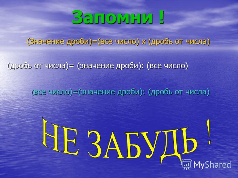 Запомни ! (Значение дроби)=(все число) х (дробь от числа) ( все число)=(значение дроби): (дробь от числа) (дробь от числа)= (значение дроби): (все число)
