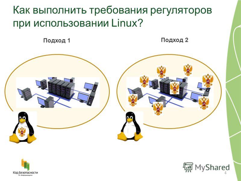 Как выполнить требования регуляторов при использовании Linux? 4 Подход 1 Подход 2