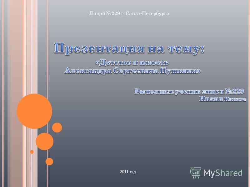2011 год Лицей 229 г. Санкт-Петербурга