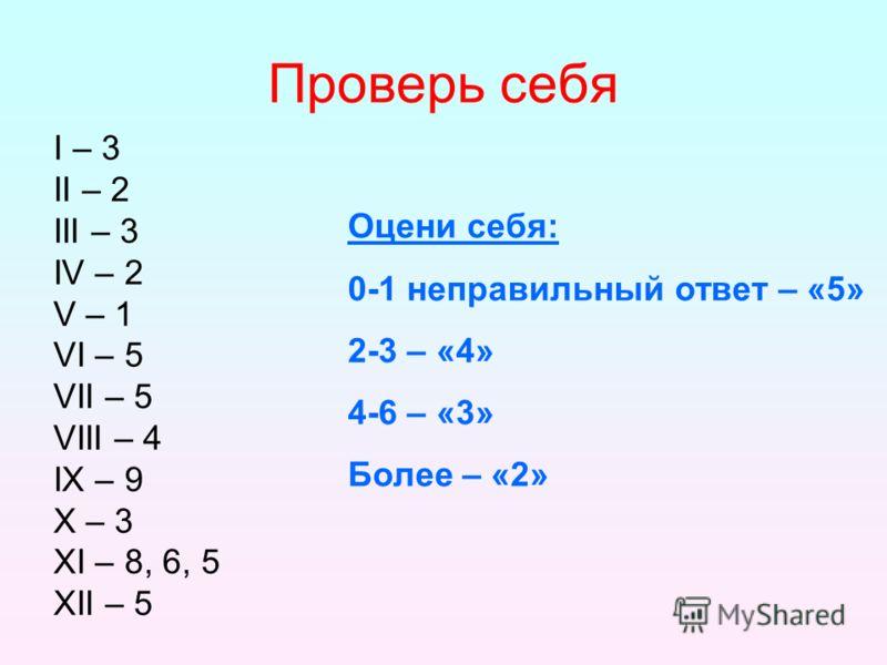 Проверь себя Ι – 3 ΙΙ – 2 ΙΙΙ – 3 IV – 2 V – 1 VI – 5 VII – 5 VIII – 4 ΙХ – 9 Х – 3 ХΙ – 8, 6, 5 ХΙΙ – 5 Оцени себя: 0-1 неправильный ответ – «5» 2-3 – «4» 4-6 – «3» Более – «2»