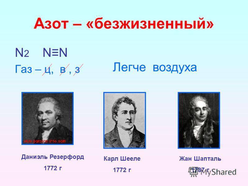 Азот – «безжизненный» N 2 NN Газ – ц, в, з Легче воздуха Карл Шееле 1772 г Жан Шапталь 1787 г Даниэль Резерфорд 1772 г