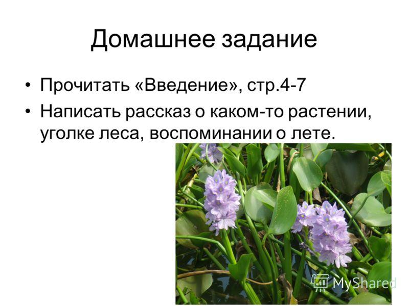 Домашнее задание Прочитать «Введение», стр.4-7 Написать рассказ о каком-то растении, уголке леса, воспоминании о лете.