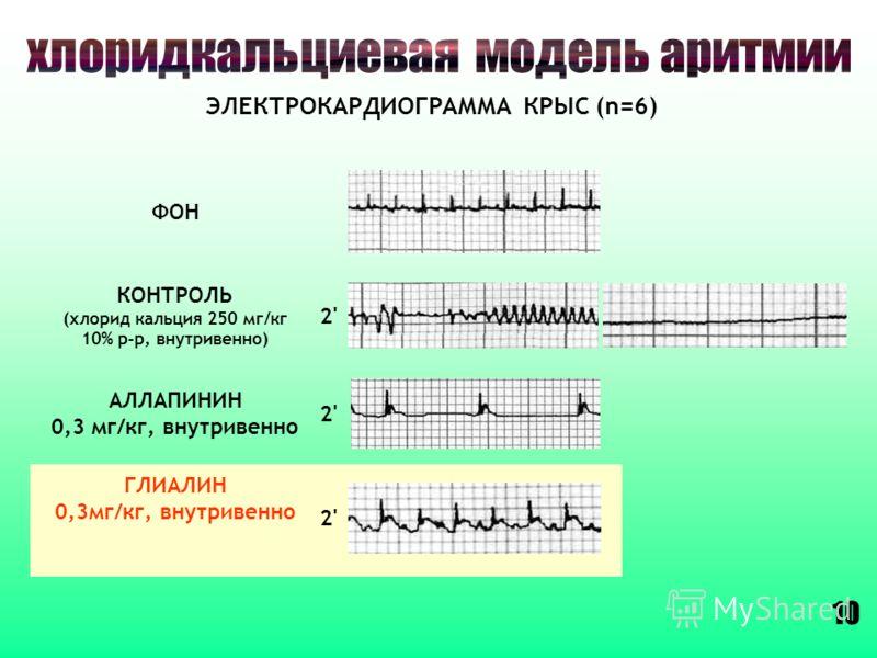 АЛЛАПИНИН 0,3 мг/кг, внутривенно 2'2' КОНТРОЛЬ (хлорид кальция 250 мг/кг 10% р-р, внутривенно) 2'2' ГЛИАЛИН 0,3мг/кг, внутривенно 2'2' ЭЛЕКТРОКАРДИОГРАММА КРЫС (n=6) 10