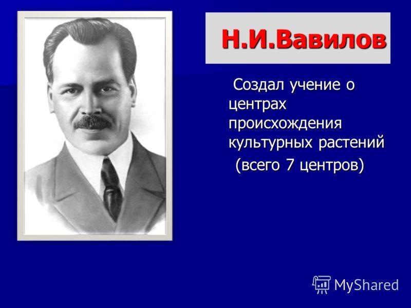 Н.И.Вавилов Создал учение о центрах происхождения культурных растений Создал учение о центрах происхождения культурных растений (всего 7 центров)