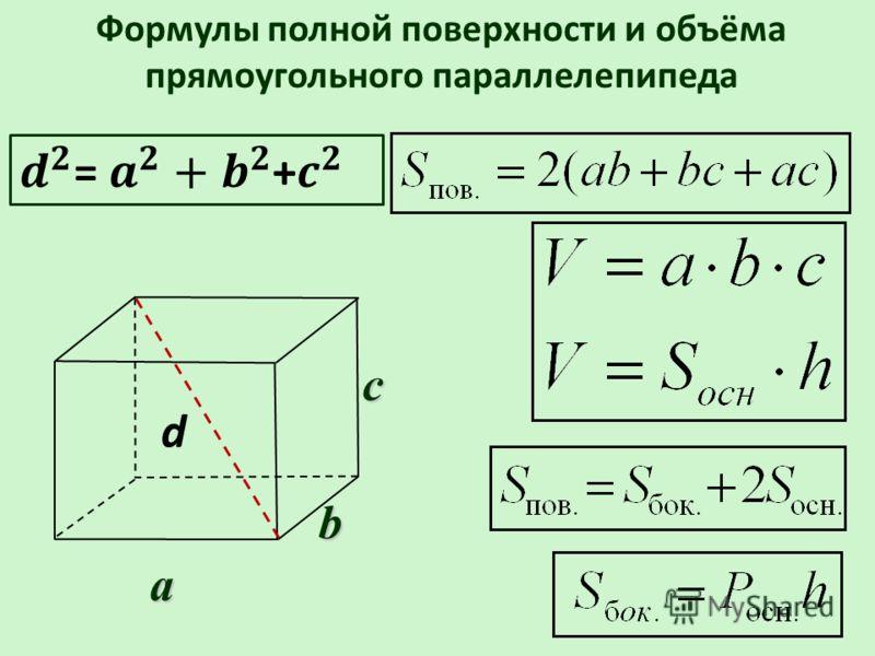 b Формулы полной поверхности и объёма прямоугольного параллелепипедаa c d