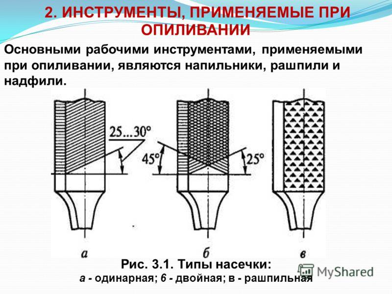 1. Сущность и назначение операции опиливания Опиливание - это операция по удалению с поверхности заготовки слоя материала при помощи режущего инструмента - напильника, целью которой является придание заготовке заданных формы и размеров, а также обесп