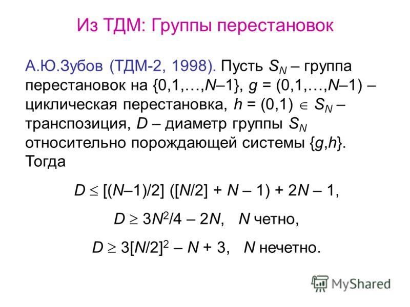 Из ТДМ: Группы перестановок А.Ю.Зубов (ТДМ-2, 1998). Пусть S N – группа перестановок на {0,1,…,N–1}, g = (0,1,…,N–1) – циклическая перестановка, h = (0,1) S N – транспозиция, D – диаметр группы S N относительно порождающей системы {g,h}. Тогда D [(N–