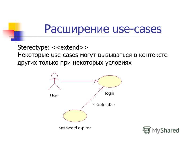 Расширение use-cases Stereotype: > Некоторые use-cases могут вызываться в контексте других только при некоторых условиях