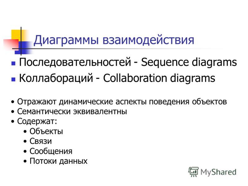 Диаграммы взаимодействия Последовательностей - Sequence diagrams Коллабораций - Collaboration diagrams Отражают динамические аспекты поведения объектов Семантически эквивалентны Содержат: Объекты Связи Сообщения Потоки данных