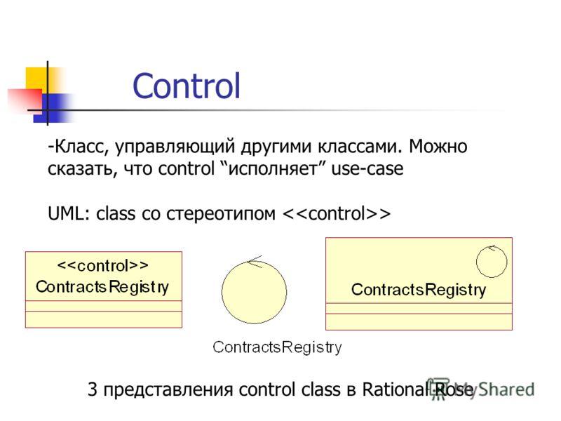 Control -Класс, управляющий другими классами. Можно сказать, что control исполняет use-case UML: class со стереотипом > 3 представления control class в Rational Rose