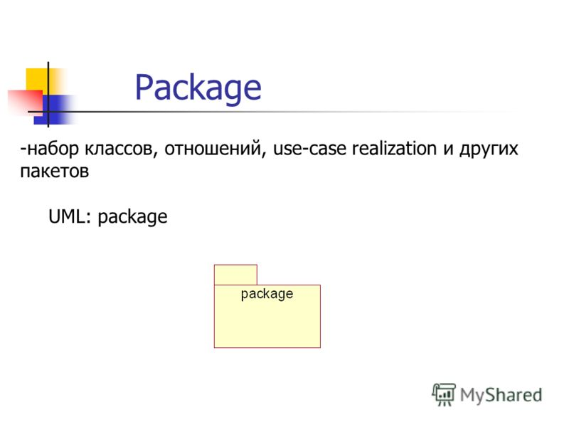 Package -набор классов, отношений, use-case realization и других пакетов UML: package