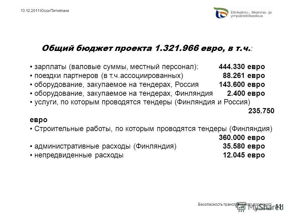 Безопасность трансграничного дорожного движения 11 13.12.2011 Юсси Питкялахи Общий бюджет проекта 1.321.966 евро, в т.ч. : зарплаты (валовые суммы, местный персонал): 444.330 евро поездки партнеров (в т.ч.ассоциированных) 88.261 евро оборудование, за