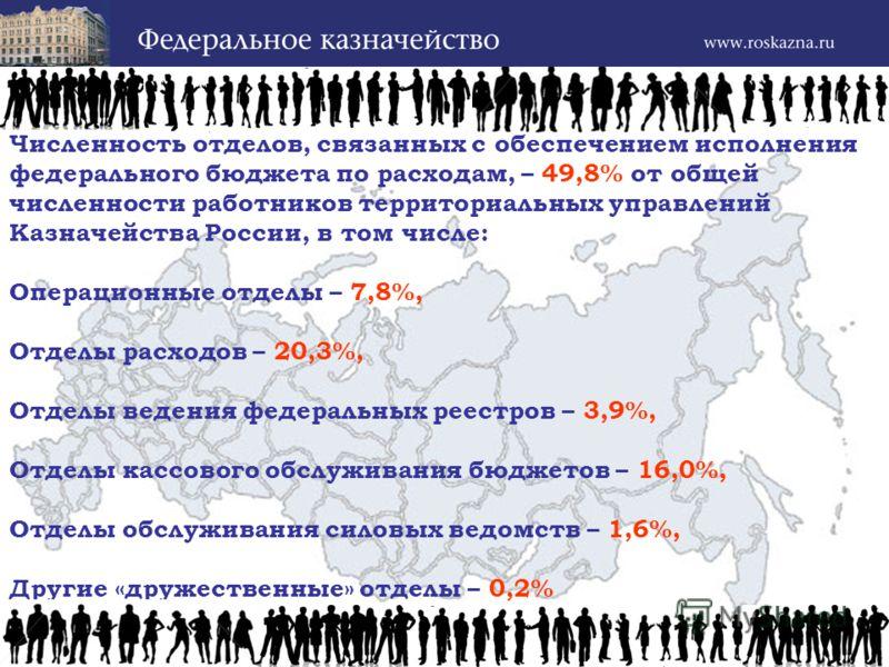Численность отделов, связанных с обеспечением исполнения федерального бюджета по расходам, – 49,8% от общей численности работников территориальных управлений Казначейства России, в том числе: Операционные отделы – 7,8%, Отделы расходов – 20,3%, Отдел