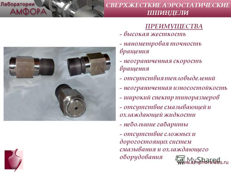www.amphoralabs.ru ПРЕИМУЩЕСТВА - высокая жесткость - нанометровая точность вращения - неограниченная скорость вращения - отсутствия тепловыделений - неограниченная износостойкость - широкий спектр типоразмеров - отсутствие смазывающей и охлаждающей