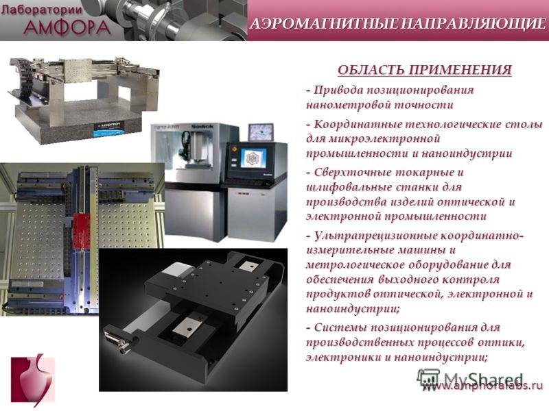 www.amphoralabs.ru ОБЛАСТЬ ПРИМЕНЕНИЯ - Привода позиционирования нанометровой точности - Координатные технологические столы для микроэлектронной промышленности и наноиндустрии - Сверхточные токарные и шлифовальные станки для производства изделий опти
