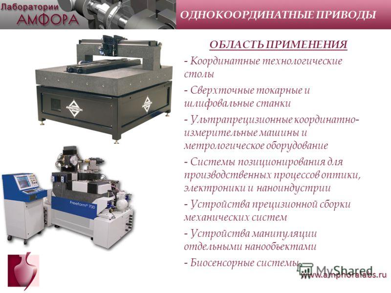 www.amphoralabs.ru ОБЛАСТЬ ПРИМЕНЕНИЯ - Координатные технологические столы - Сверхточные токарные и шлифовальные станки - Ультрапрецизионные координатно- измерительные машины и метрологическое оборудование - Системы позиционирования для производствен