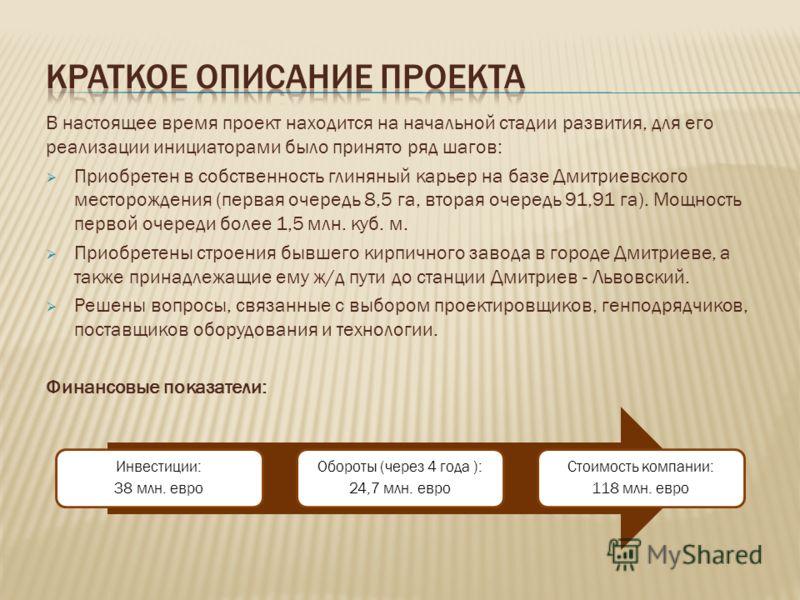 В настоящее время проект находится на начальной стадии развития, для его реализации инициаторами было принято ряд шагов: Приобретен в собственность глиняный карьер на базе Дмитриевского месторождения (первая очередь 8,5 га, вторая очередь 91,91 га).
