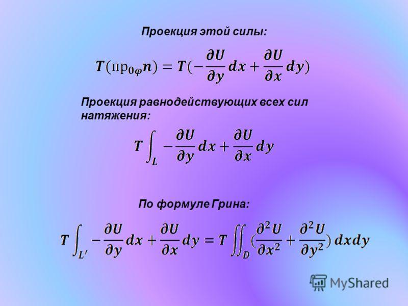Проекция этой силы: Проекция равнодействующих всех сил натяжения: По формуле Грина: