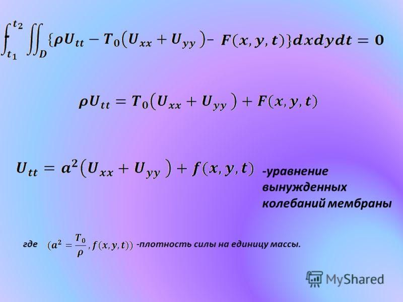 - -уравнение вынужденных колебаний мембраны где-плотность силы на единицу массы.