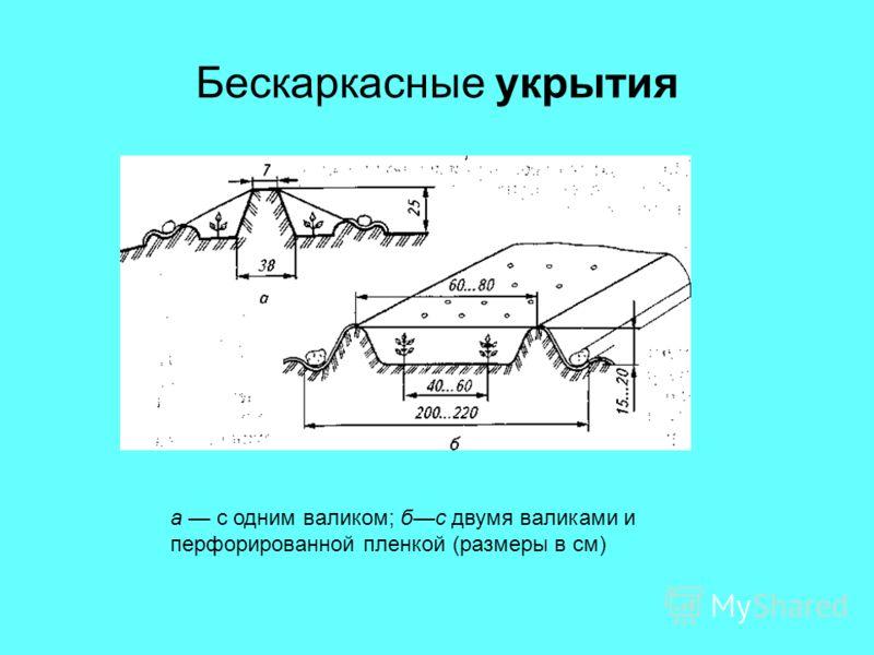 Бескаркасные укрытия а с одним валиком; бс двумя валиками и перфорированной пленкой (размеры в см)