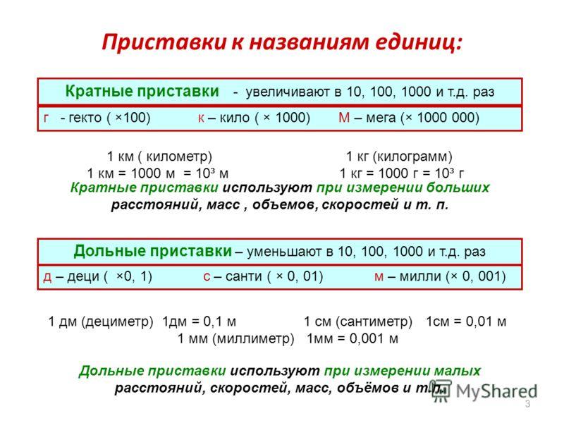 Приставки к названиям единиц: 3 Кратные приставки - увеличивают в 10, 100, 1000 и т.д. раз г - гекто ( ×100) к – кило ( × 1000) М – мега (× 1000 000) 1 км ( километр) 1 кг (килограмм) 1 км = 1000 м = 10³ м 1 кг = 1000 г = 10³ г Дольные приставки – ум