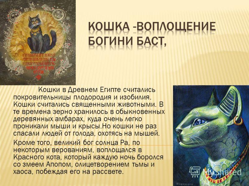 Кошки в Древнем Египте считались покровительницы плодородия и изобилия. Кошки считались священными животными. В те времена зерно хранилось в обыкновенных деревянных амбарах, куда очень легко проникали мыши и крысы.Но кошки не раз спасали людей от гол
