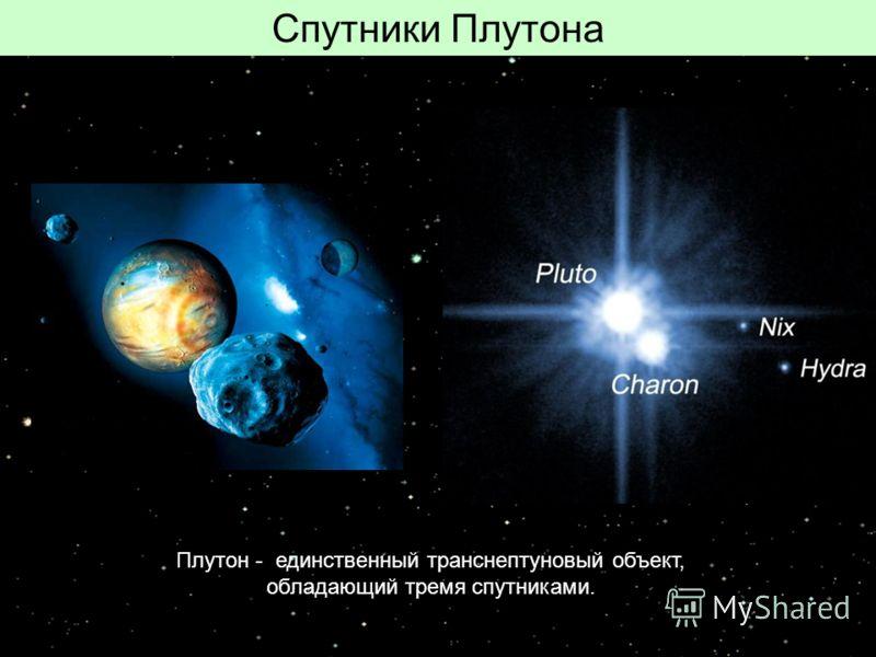 Спутники Плутона Плутон - единственный транснептуновый объект, обладающий тремя спутниками.