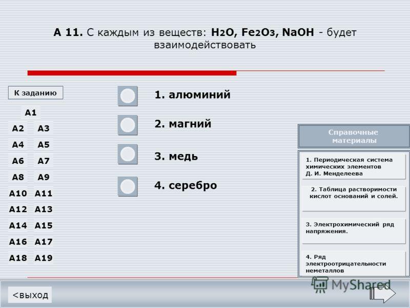 А 11. С каждым из веществ: H 2 O, Fe 2 O 3, NaOH - будет взаимодействовать 1. алюминий 2. магний 3. медь 4. серебро