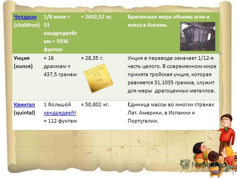 Челдрон Челдрон (chaldron) 1/8 киля = 53 хандредвейт ам = 5936 фунтов = 2692,52 кг. Британская мера объема угля и кокса в Англии. Унция (ounce) = 16 драхмам = 437,5 гранам = 28,35 г. Унция в переводе означает 1/12-я часть целого. В современном мире п