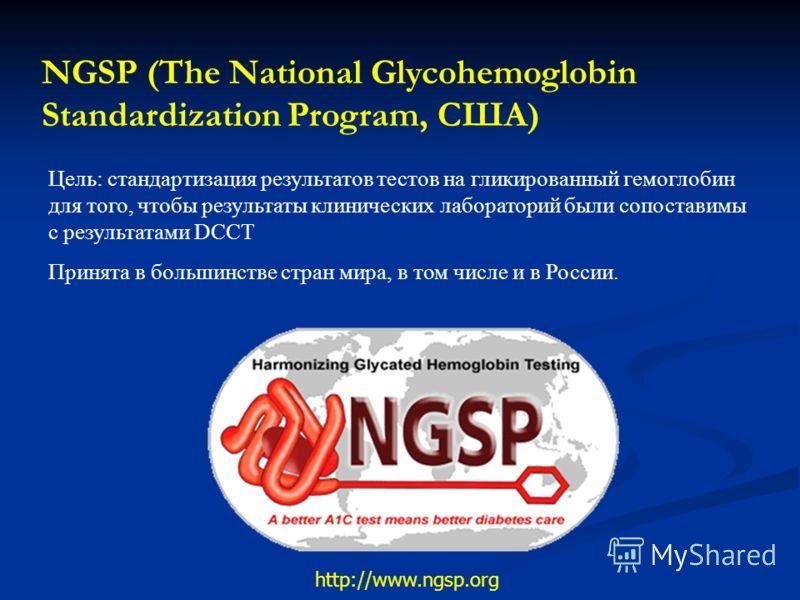 NGSP (The National Glycohemoglobin Standardization Program, США) Цель: стандартизация результатов тестов на гликированный гемоглобин для того, чтобы результаты клинических лабораторий были сопоставимы с результатами DCCT Принята в большинстве стран м