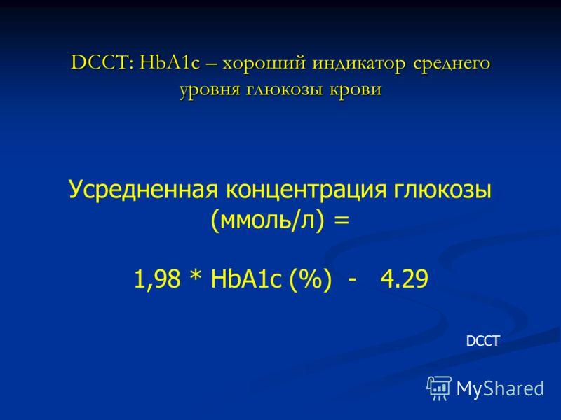 DCCT: HbA1c – хороший индикатор среднего уровня глюкозы крови Усредненная концентрация глюкозы (ммоль/л) = 1,98 * HbA1c (%) - 4.29 DCCT