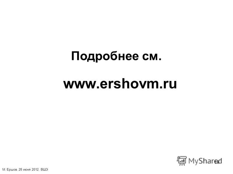 14 Подробнее см. www.ershovm.ru М. Ершов. 28 июня 2012. ВШЭ
