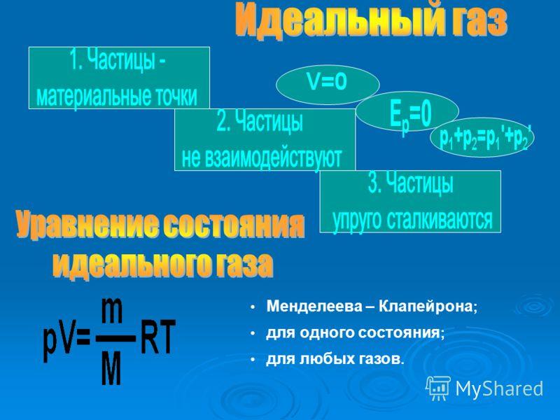 Менделеева – Клапейрона ; для одного состояния ; для любых газов.