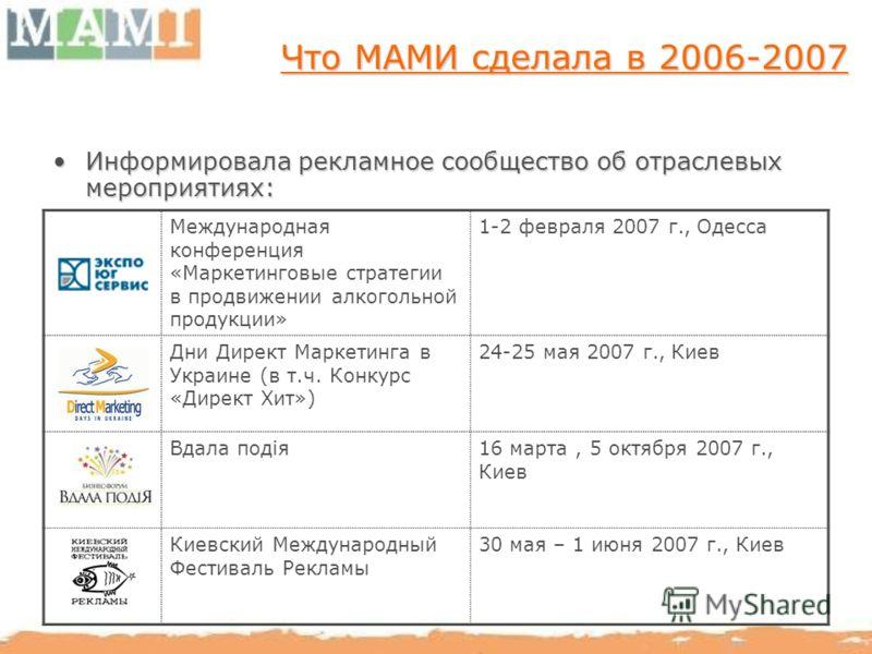 Что МАМИ сделала в 2006-2007 Информировала рекламное сообщество об отраслевых мероприятиях:Информировала рекламное сообщество об отраслевых мероприятиях: Международная конференция «Маркетинговые стратегии в продвижении алкогольной продукции» 1-2 февр