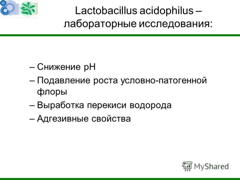 Lactobacillus acidophilus – лабораторные исследования: –Снижение рН –Подавление роста условно-патогенной флоры –Выработка перекиси водорода –Адгезивные свойства