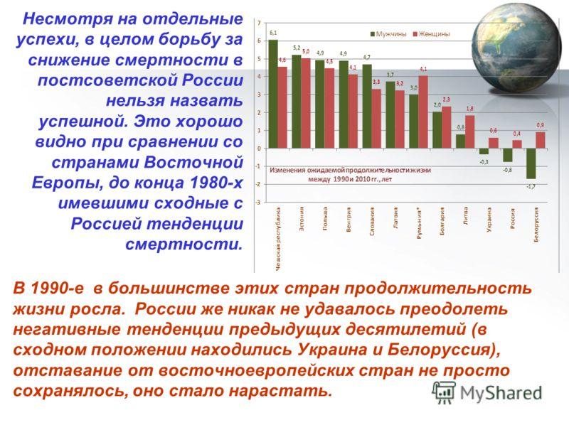 Несмотря на отдельные успехи, в целом борьбу за снижение смертности в постсоветской России нельзя назвать успешной. Это хорошо видно при сравнении со странами Восточной Европы, до конца 1980-х имевшими сходные с Россией тенденции смертности. В 1990-е
