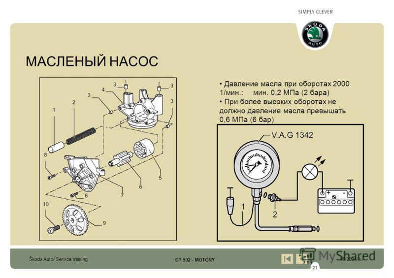 21 Škoda Auto/ Service training09/2004/Ju GT 502 - MOTORY МАСЛЕНЫЙ НАСОС Давление масла при оборотах 2000 1/мин.: мин. 0,2 МПа (2 бара) При более высоких оборотах не должно давление масла превышать 0,6 МПа (6 бар)