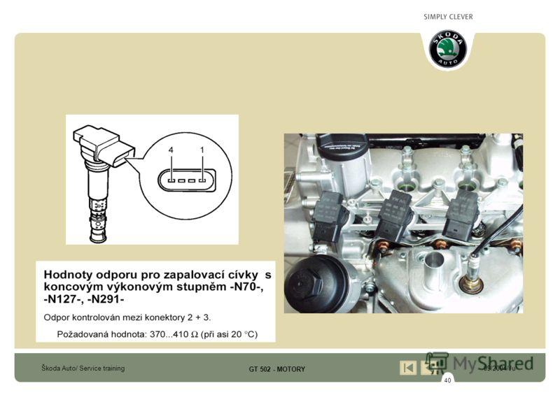 40 Škoda Auto/ Service training09/2004/Ju GT 502 - MOTORY