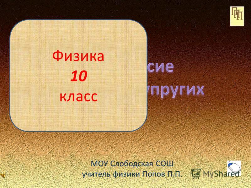МОУ Слободская СОШ учитель физики Попов П.П. Физика 10 класс