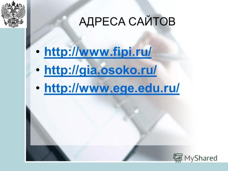 АДРЕСА САЙТОВ http://www.fipi.ru/ http://gia.osoko.ru/ http://www.ege.edu.ru/