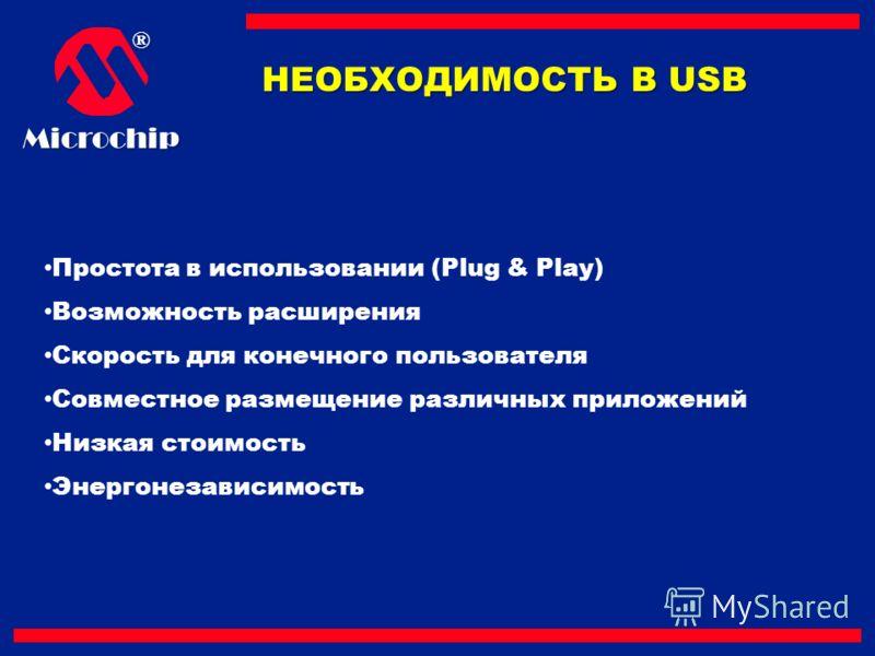 ®Microchip НЕОБХОДИМОСТЬ В USB Простота в использовании (Plug & Play) Возможность расширения Скорость для конечного пользователя Совместное размещение различных приложений Низкая стоимость Энергонезависимость