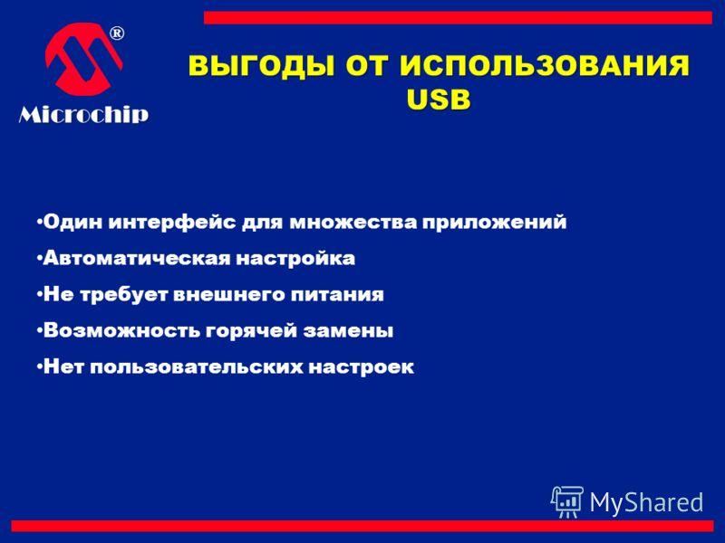 ®Microchip ВЫГОДЫ ОТ ИСПОЛЬЗОВАНИЯ USB Один интерфейс для множества приложений Автоматическая настройка Не требует внешнего питания Возможность горячей замены Нет пользовательских настроек