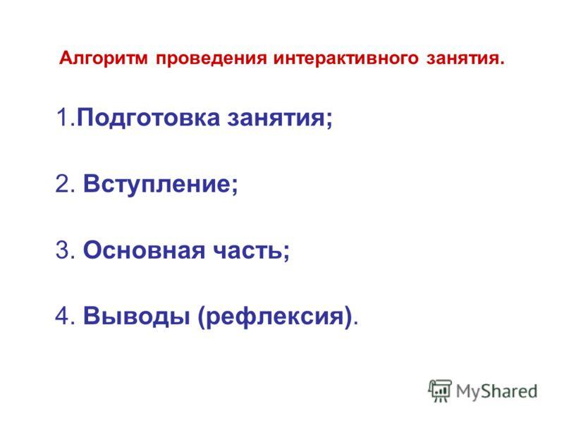 Алгоритм проведения интерактивного занятия. 1.Подготовка занятия; 2. Вступление; 3. Основная часть; 4. Выводы (рефлексия).